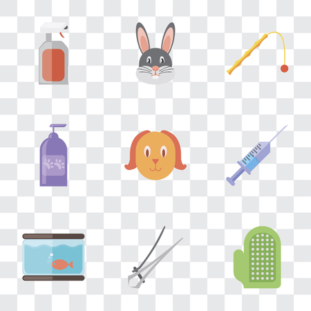 Set Of 9 simple transparency icons such as Glove, Nail trimmer, Aquarium, Syringe, Dog, Shampoo, Toy, Rabbit, Spray, can be used for mobile, pixel perfect vector icon pack on transparent background