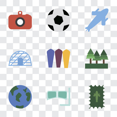 Set Of 9 simple transparency icons such as Postage, Snorkel, Travel, Forest, Surfing, Igloo, Plane, Ball, Camera, can be used for mobile, pixel perfect vector icon pack on transparent background Illustration
