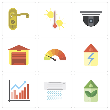 Set Of 9 simple editable icons such as Eco home, Air conditioner, Chart, Home, Meter, Garage, Security camera, Temperature, Doorknob, can be used for mobile, pixel perfect vector icon pack