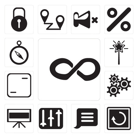 Set Of 13 simple editable icons such as Infinity, Restart, Notification, Controls, Television, Settings, Frame, Magic wand, Compass, web ui icon pack Illustration