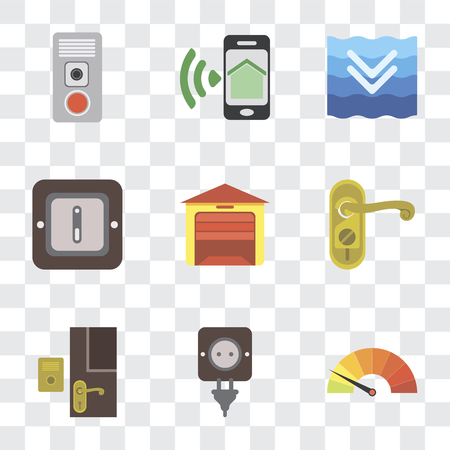 Set Of 9 simple transparency icons such as Meter, Plug, Doorbell, Doorknob, Garage, Switch, Deep, Smartphone, Intercom, can be used for mobile, pixel perfect vector icon pack on transparent Ilustrace