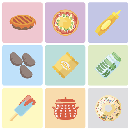 Set Of 9 simple editable icons such as Doughnut, Pot, Ice cream, Pickles, Chips, Potatoes, Mustard, Pizza, Pie, can be used for mobile, pixel perfect vector icon pack  イラスト・ベクター素材