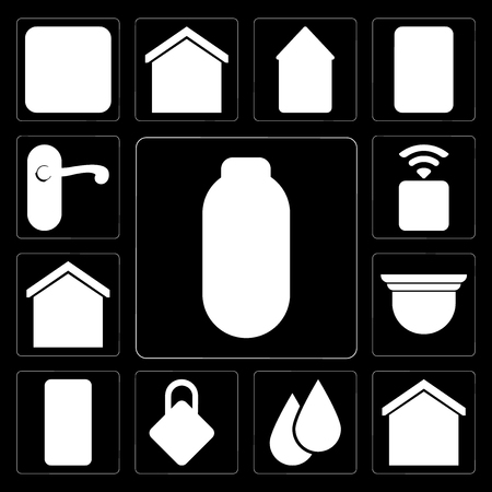 Set Of 13 simple editable icons such as Power, Smart home, Water, Locking, Mobile, Security camera, Socket, Doorknob on black background