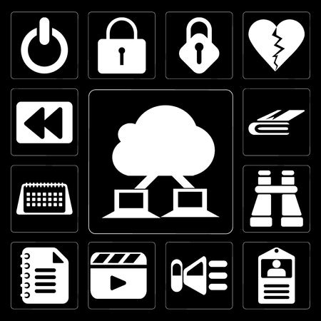 Set Of 13 simple editable icons such as Cloud computing, Id card, Speaker, Video player, Notepad, Binoculars, Calendar, Notebook, Rewind on black background Illustration