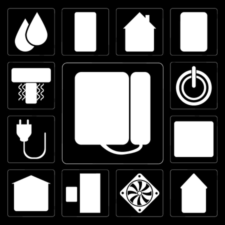 Set Of 13 simple editable icons such as Dial, Automation, Cooler, Doorbell, Garage, Fire alarm, Plug, Power, Air conditioner on black background