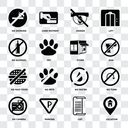 Set Of 16 icons such as Location, List, Parking, No camera, turn, smoking, alcohol, fast food, Store on transparent background, pixel perfect Banque d'images - 111927128
