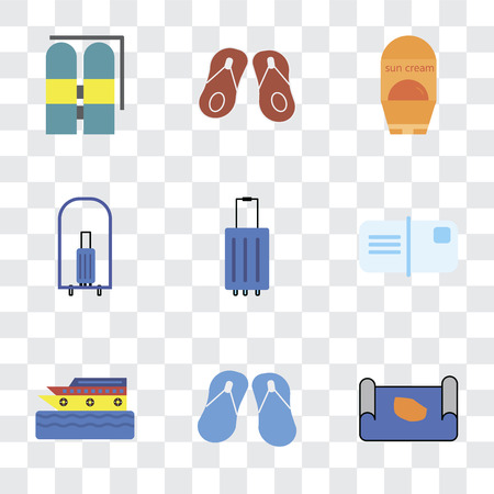 Set Of 9 simple transparency icons such as Map, Flip flops, Cruise, Postcards, Luggage, Bellhop, Sun protection, Aqualung, can be used for mobile, pixel perfect vector icon pack on Illustration