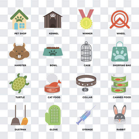 Set Of 16 icons such as Rabbit, Syringe, Glove, Dustpan, Canned food, Pet shop, Hamster, Turtle, Cage on transparent background, pixel perfect Illustration