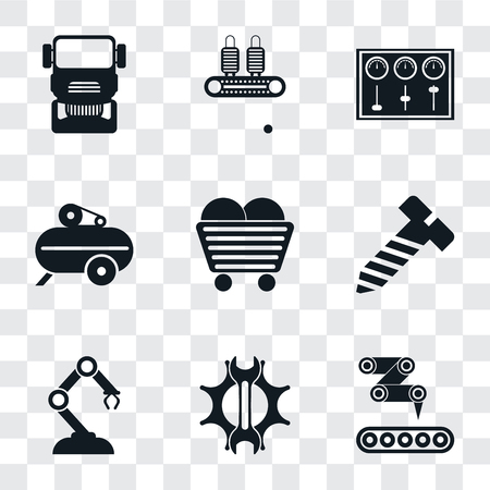 Set Of 9 simple transparency icons such as Conveyor, Settings, Robotic arm, Bolt, Coal, Compressor, Control panel, Truck, can be used for mobile, pixel perfect vector icon pack on Illustration