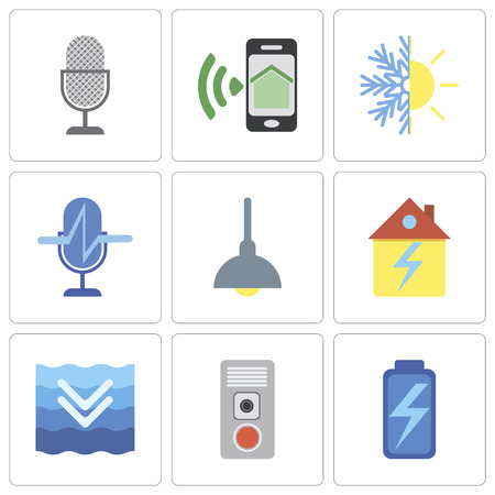 Set Of 9 simple editable icons such as Battery, Intercom, Deep, Home, Lighting, Voice control, Heating, Smartphone, can be used for mobile, pixel perfect vector icon pack