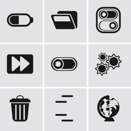 Set Of 9 simple editable icons such as Worldwide, Garbage, Settings, Switch, Fast forward, Folder, Battery, can be used for mobile, pixel perfect vector icon pack