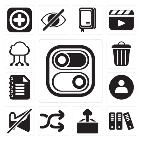 Set Of 13 simple editable icons such as Switch, Archive, Upload, Shuffle, Muted, User, Notepad, Garbage, Cloud computing, web ui icon pack