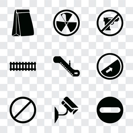Set Of 9 simple transparency icons such as Forbidden, Cctv, Slope, Escalator, Train, Gun, Radiation, Paper bag, can be used for mobile, pixel perfect vector icon pack on transparent