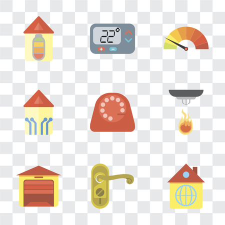 Set Of 9 simple transparency icons such as Home, Doorknob, Garage, Sensor, Dial, Smart home, Meter, Thermostat, can be used for mobile, pixel perfect vector icon pack on transparent background Illustration