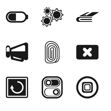 Set Of 9 simple editable icons such as Stop, Switch, Restart, Close, Fingerprint, Megaphone, Notebook, Settings, Battery, can be used for mobile, pixel perfect vector icon pack Illustration