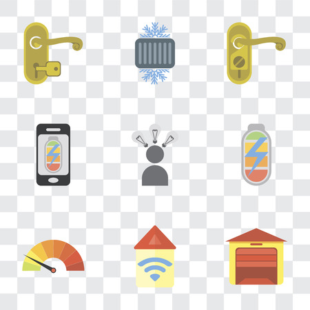 Set Of 9 simple transparency icons such as Garage, Automation, Meter, Power, Smart, Mobile phone, Doorknob, Cool, Handle, can be used for mobile, pixel perfect vector icon pack on transparent