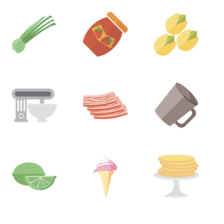 Set Of 9 simple editable icons such as Pancakes, Ice cream, Lime, Mug, Bacon, Mixer, Pistachio, Jam, Chives, can be used for mobile, pixel perfect vector icon pack