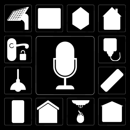 Set Of 13 simple editable icons such as Voice control, Garage, Sensor, Smart home, Mobile, Remote, Lighting, Plug, Handle on black background