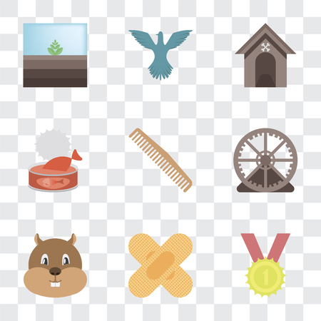 Set Of 9 simple transparency icons such as Winner, Band aid, Hamster, Hamster ball, Comb, Cat food, Kennel, Bird, Terrarium, can be used for mobile, pixel perfect vector icon pack on transparent