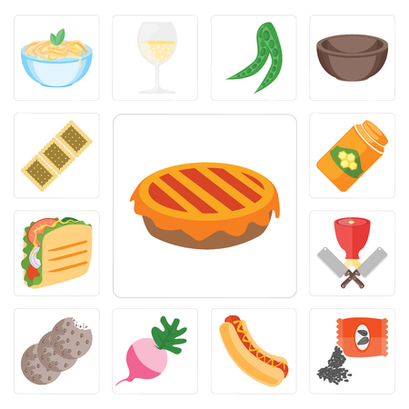 Set Of 13 simple editable icons such as Pie, Seeds, Hot dog, Radish, Cookies, Butcher, Taco, Honey, Biscuit, web ui icon pack