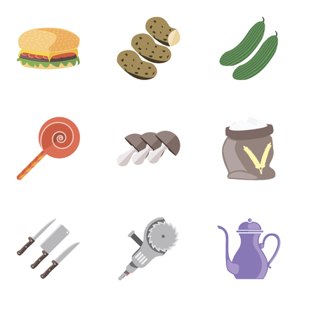Set Of 9 simple editable icons such as Teapot, Grinder, Knives, Flour, Mushrooms, Jawbreaker, Cucumber, Potatoes, Hamburguer, can be used for mobile, pixel perfect vector icon pack