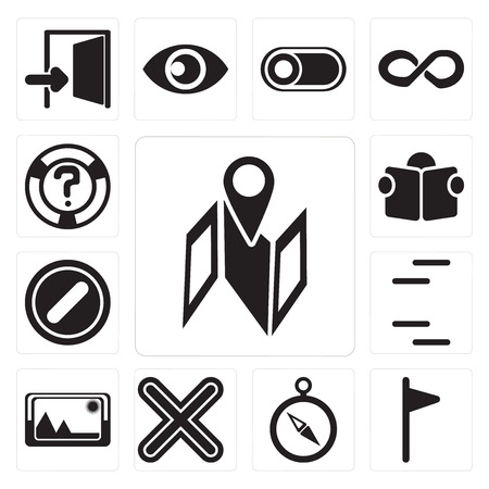 Set Of 13 simple editable icons such as Map, Flag, Compass, Multiply, Picture, Lines, Forbidden, Reading, Help, web ui icon pack Stockfoto - 111927150
