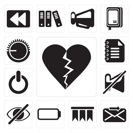 Set Of 13 simple editable icons such as Dislike, Send, Bookmark, Battery, Hide, Muted, Switch, Notepad, Volume control, web ui icon pack