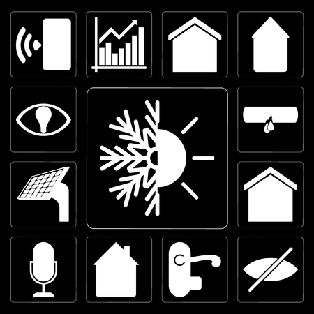 Set Of 13 simple editable icons such as Heating, Blind, Handle, Home, Voice control, Smart home, Panel, Leak, on black background