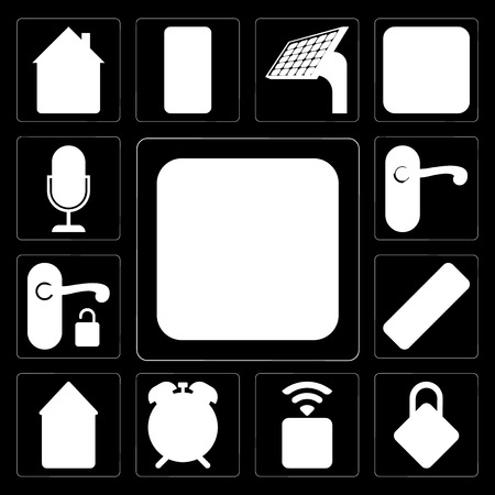 Set Of 13 simple editable icons such as Switch, Locking, Socket, Alarm, Smart home, Remote, Handle, Doorknob, Voice control on black background Illustration