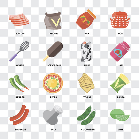 Set Of 16 icons such as Lime, Cucumber, Salt, Sausage, Pasta, Bacon, Whisk, Pepper, Milk on transparent background, pixel perfect