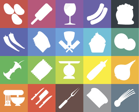 Set Of 20 icons such as Chives, Bread, Fork, Knives, Mixer, Flour, Onion, Scale, Apple, Toast, Cupcake, Potatoes, Coconut, Glass, web UI editable icon pack, pixel perfect