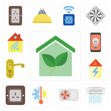 Set Of 13 simple editable icons such as Smart home, Air conditioner, Thermostat, Plug, Home, Doorknob, Mobile, web ui icon pack
