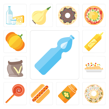Set Of 13 simple editable icons such as Water, Doughnut, Honey, Hot dog, Jawbreaker, Risotto, Flour, Mustard, Pumpkin, web ui icon pack