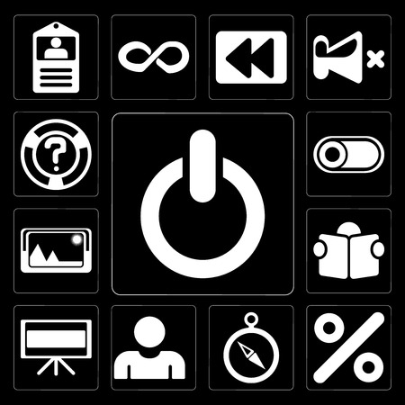 Set Of 13 simple editable icons such as Switch, Percent, Compass, User, Television, Reading, Picture, Help on black background