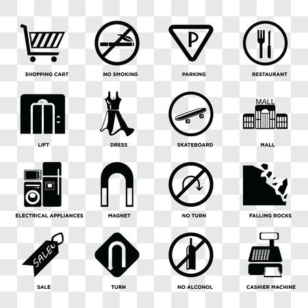 Set Of 16 icons such as Cashier machine, No alcohol, Turn, Sale, Falling rocks, Shopping cart, Lift, Electrical appliances, Skateboard on transparent background, pixel perfect Ilustração