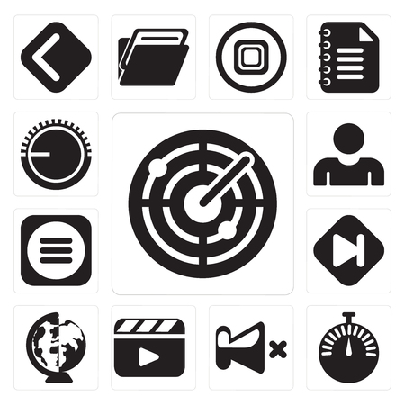 Set Of 13 simple editable icons such as Radar, Stopwatch, Mute, Video player, Worldwide, Skip, Menu, User, Volume control, web ui icon pack Illustration