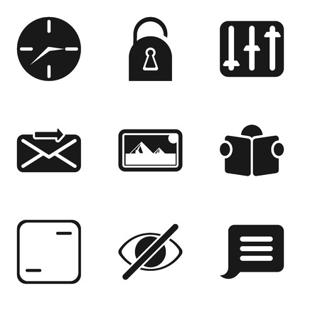 Set Of 9 simple editable icons such as Notification, Hide, Frame, Reading, Photos, Send, Controls, Locked, Clock, can be used for mobile, pixel perfect vector icon pack