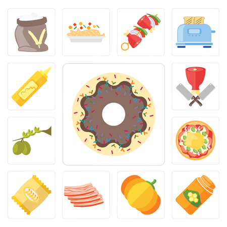 Set Of 13 simple editable icons such as Doughnut, Honey, Pumpkin, Bacon, Chips, Pizza, Olives, Butcher, Mustard, web ui icon pack