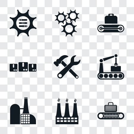 Set Of 9 simple transparency icons such as Conveyor, Factory, Tools, Packages, Cogwheel, Options, can be used for mobile, pixel perfect vector icon pack on transparent