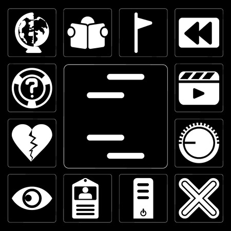 Set Of 13 simple editable icons such as Lines, Multiply, Server, Id card, View, Volume control, Dislike, Video player, Help on black background Illustration