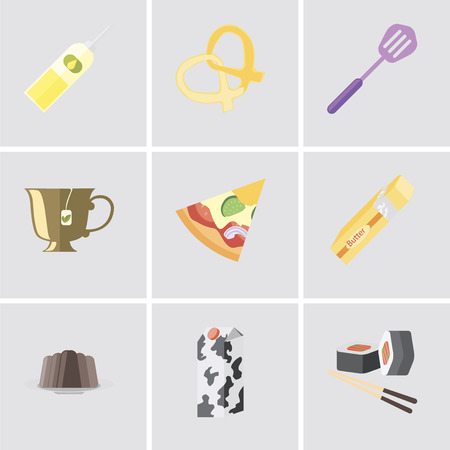 Set Of 9 simple editable icons such as Sushi, Milk, Pudding, Butter, Pizza, Tea, Spatula, Pretzel, Oil, can be used for mobile, pixel perfect vector icon pack Illustration