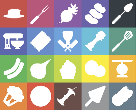 Set Of 20 icons such as Cookies, Ice cream, Apple, Pizza, Cauliflower, Spoon, Scale, Cupcake, Sausage, Chips, Pepper, Pancakes, Spatula, Radish, web UI editable icon pack, pixel perfect