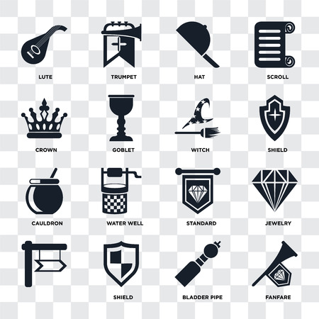 Set Of 16 icons such as Fanfare, Bladder pipe, Shield, , Jewelry, Lute, Crown, Cauldron, Witch on transparent background, pixel perfect