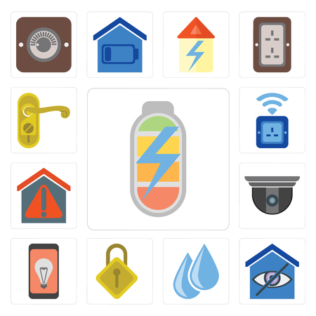 Set Of 13 simple editable icons such as Power, Smart home, Water, Locking, Mobile, Security camera, Socket, Doorknob, web ui icon pack