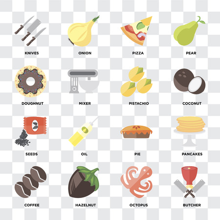 Set Of 16 icons such as Butcher, Octopus, Hazelnut, Coffee, Pancakes, Knives, Doughnut, Seeds, Pistachio on transparent background, pixel perfect