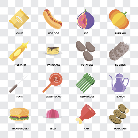 Set Of 16 icons such as Potatoes, Ham, Jelly, Hamburguer, Teapot, Chips, Mustard, Fork on transparent background, pixel perfect