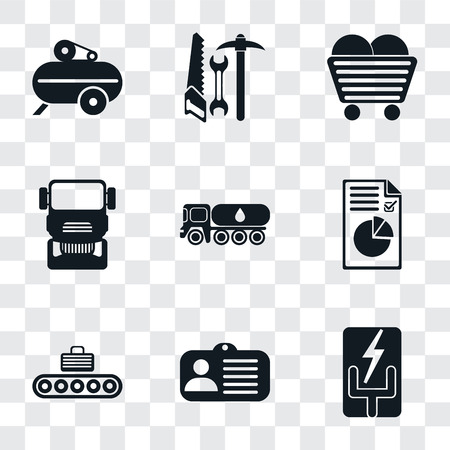 Set Of 9 simple transparency icons such as Electricity, Id card, Conveyor, Plan, Tank truck, Truck, Coal, Tools, Compressor, can be used for mobile, pixel perfect vector icon pack on transparent