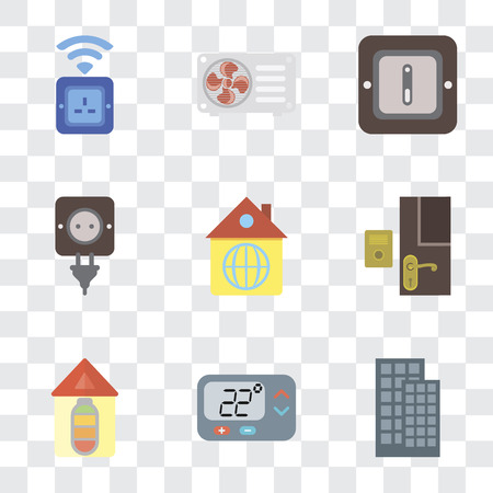 Set Of 9 simple transparency icons such as Smart home, Thermostat, Home, Doorbell, Plug, Switch, Air conditioner, Socket, can be used for mobile, pixel perfect vector icon pack on transparent