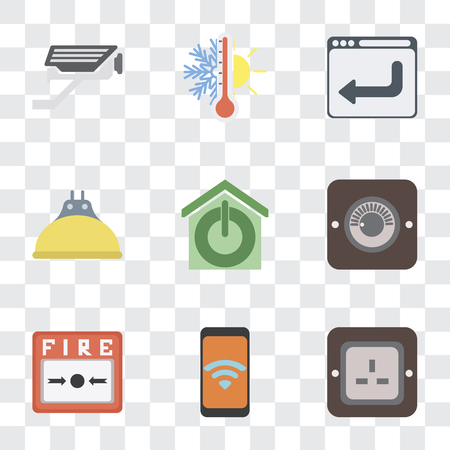 Set Of 9 simple transparency icons such as Plug, Mobile, Fire alarm, Dimmer, Smart home, Lightbulb, Browser, Thermostat, Cctv, can be used for mobile, pixel perfect vector icon pack on transparent