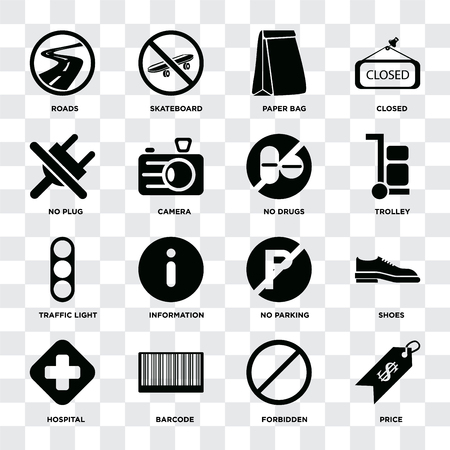 Set Of 16 icons such as Price, Forbidden, Barcode, Hospital, Shoes, Roads, No plug, Traffic light, drugs on transparent background, pixel perfect  イラスト・ベクター素材